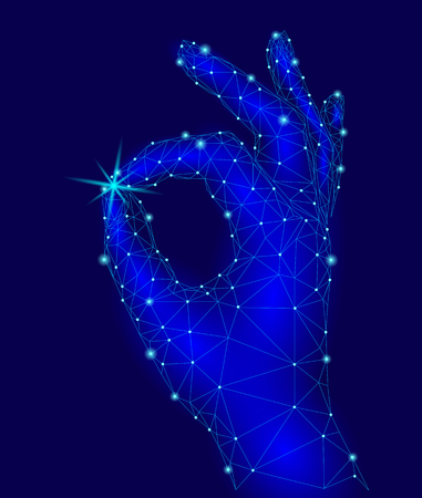 Sign Ok finger signal agreement. 3d low poly model of human hand connected dots point line. Neon green blue color. Precious star careful holding business concept vector illustration