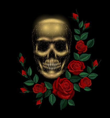 Vintage human skull bone flower red rose arrangement. Embroidery fashion decoration patch. Low poly polygonal triangle dead muertos vector illustration template Illustration