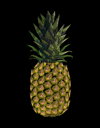 Embroidered yellow pineapple fruit. Fashion print embroidery texture stitch decoration patch. Tropic vector illustration on black background art