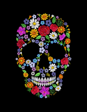Vintage embroidered flower skull. Muertos Dead Day Fashion design decoration print. Orange marigold daisy chamomile beautiful isolated on black background. Greeting invitation vector illustration