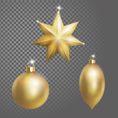 Collection of Christmas ball tree decoration gold round star and oval shape.