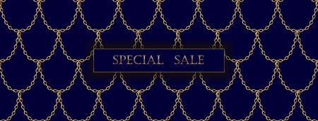 Goldene Kette Luxus Sale Banner Vorlage. Dunkle tiefblaue Goldfischschuppen. Werbliches Werbeangebot Einladung Vektor Illustration Kunst Standard-Bild - 85854410