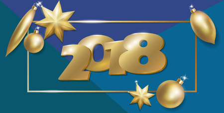 2018 New Year 3d realistic flat lay composition. Golden Christmas tree toys ball star oval shape. Top view banner template vector illustration. Number in frame on blue green background