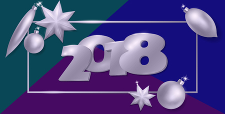 numbers: 2018 New Year 3d realistic flat lay composition. Silver metallic Christmas tree toys ball star oval shape. Top view banner template vector illustration. Number in frame on blue green background