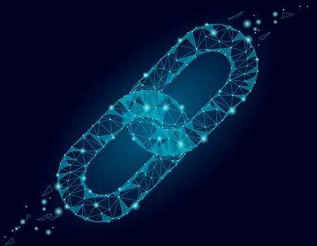 Blockchain link sign low poly design. Internet technologii łańcucha ikona trójkąt wieloboczne hiperłącze bezpieczeństwa koncepcji sieci biznesu. Niebieski futurystyczny styl drutu połączony ilustracji wektorowych punkt