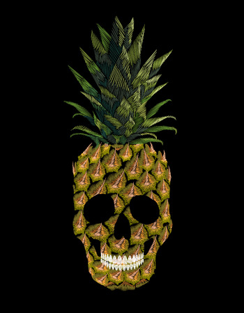 Embroidery skull pineapple t-skirt print. Fashion decoration patch embroidered imitation. Yellow exotic fruit tropical art. Vector illustration black background Ilustração