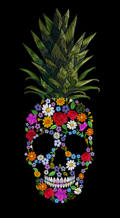 hand print: Embroidery skull pineapple t-skirt print. Fashion decoration patch floral embroidered imitation. Yellow exotic fruit tropical art. Vector illustration black background