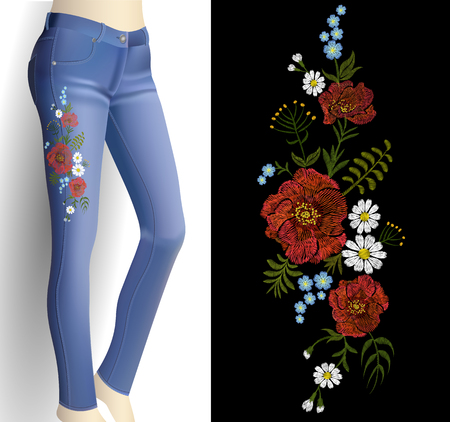Flower embroidery on woman blue jeans 3d mockup. Fashion outfit detail rose poppy flower print patch vector illustration