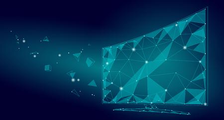 Vidéo d'écran de télévision intelligente de basse poly. L'affichage de technologie future de bureau de réalité virtuelle de Polygonal a relié l'art de points de ligne de points. Illustration vectorielle de l'innovation PC Banque d'images - 87713227
