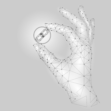 Low poly hand hold blockchain link symbol carefully. Polygonal triangle connected dot point white gray cryptocurrency coin. Finance business offer gain profit concept vector illustration Vectores