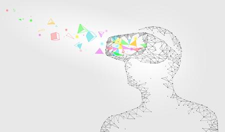 Low-Poly-Virtual-Reality-Helm. Zukunftstechnologie der Innovation. Polygonales Dreieck schloss weiße Vektorillustration der Punkte geometrische Punktlinie vr Kopfhörerglasgerätkonzept an