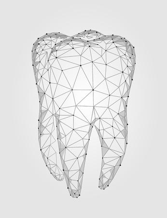 Logotipo de estrutura poligonal de dente de modelo 3D. Conceito oral do negócio dos cuidados médicos do sumário poli do triângulo do baixo do símbolo do Stomatology. Ilustração em vetor arte partícula ponto conectado