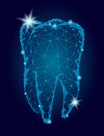 3d model logo wielokąta struktura zęba. Stomatologia symbol low poly trójkąt streszczenie ustnej opieki medycznej biznes koncepcja. Związana kropka cząsteczki błyskotania sztuki wektorowej Logo
