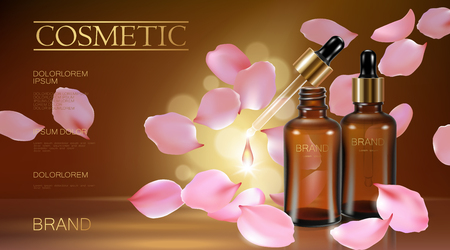 3d realistic flower natural organic cosmetic ad. Rose pink petal brown glass serum essence face oil droplet care. Bottle pipette golden promotional poster template vector illustration