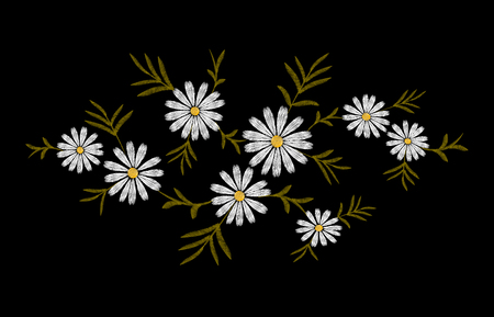 Daisy embroidery print texture flower arrangement leaves. Fashion ornament decoration vintage floral black background vector illustration art