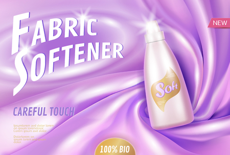Fabric softener 3d realistic promotional poster template. Clean household bio product. Delicate silk clothes violet purple glowing plastic bottle mockup. Laundry ad vector illustration art Vectores