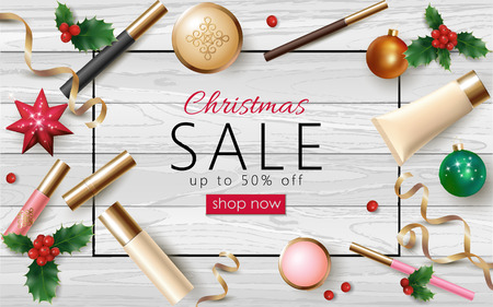 Christmas cosmetic sale 3d realistic web banner template. Female make up package New Year tree toy golden streamer frame poster ad special offer vector illustration art