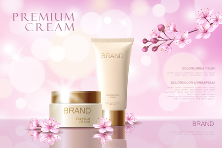 Sakura flower cosmetic promotional poster template. Pink petal blossom japanese branch. Golden pink package realistic 3d face care defocused background vector illustration