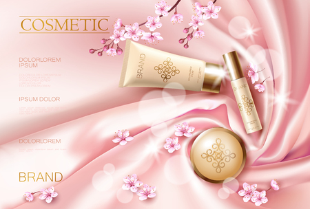 Sakura flower cosmetic promotional poster template. Pink petal blossom japanese branch. Golden pink package realistic 3d face care flat lay top view silk satin vector illustration Vectores