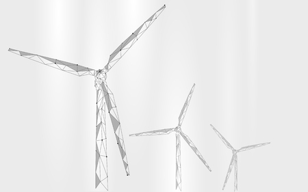 Wind generator low poly abstract background. Save ecology green energy electricity business concept. Windmill tower white gray sky clouds landscape polygonal geometric vector illustration