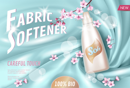 Sakura flower fabric softener promotional poster template. Pink petal blossom Japanese branch aroma. Golden package realistic 3d silk light blue soft satin background.