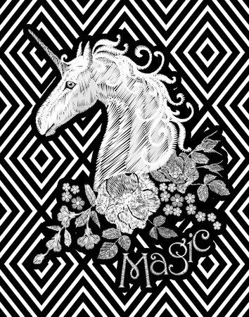 Embroidery white floral pattern with dog roses and forget me not flowers. Unicorn fantasy fairytale dream vector traditional folk fashion ornament on black striped background Illustration