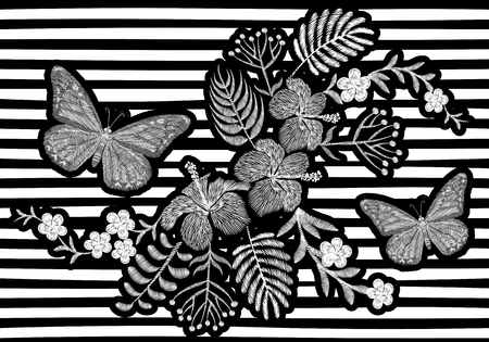 Butterfly realistic embroidery texture design. Exotic white flowers fashion decoration on striped monochrome background vector black illustration