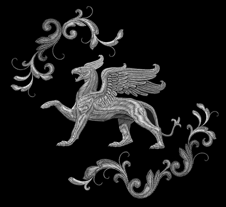 White textured embroidery griffin textile patch design. Illustration