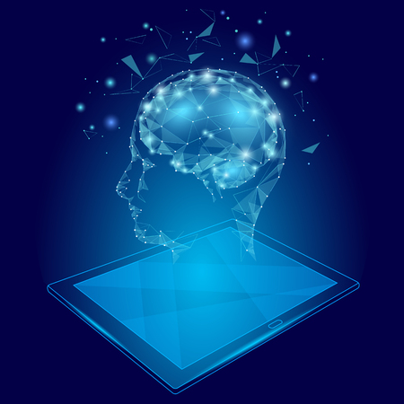 Low poly abstract brain tablet pc virtual reality concept.