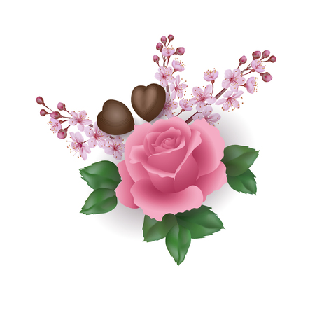 Realistic Valentine Day 3d set rose flower chocolate sakura blossom. Heart shape candy pink flower cherry petals green leaves. Holiday present romantic date gift vector illustration