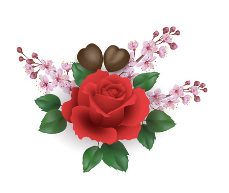 Realistic Valentine Day 3d set rose flower chocolate sakura blossom. Heart shape candy red flower cherry petals green leaves. Holiday present romantic date gift vector illustration