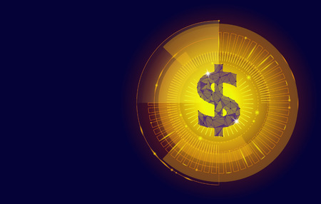 Golden dollar target HUD graph interface display. American currency symbol low poly geometric blue icon international finance business concept e-commerce hologram glow vector illustration art