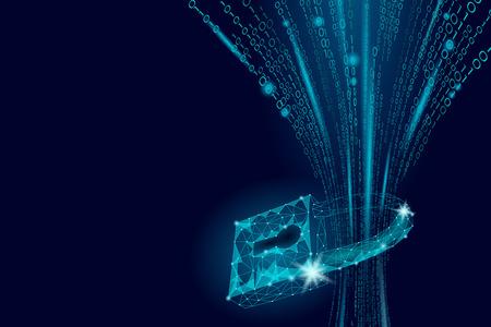 Cyber safety padlock on data mass.