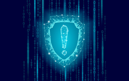Cyber security safety shield low poly exclamation point. Polygonal geometric guard attention virus alert internet attack warning antivirus. Blue glow firewall protection hacker vector illustration art Illustration