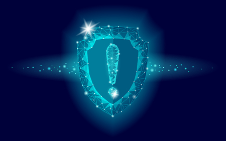 Cyber security safety shield low poly exclamation point. Polygonal geometric guard attention virus alert internet attack warning antivirus. Blue glow firewall protection hacker vector illustration