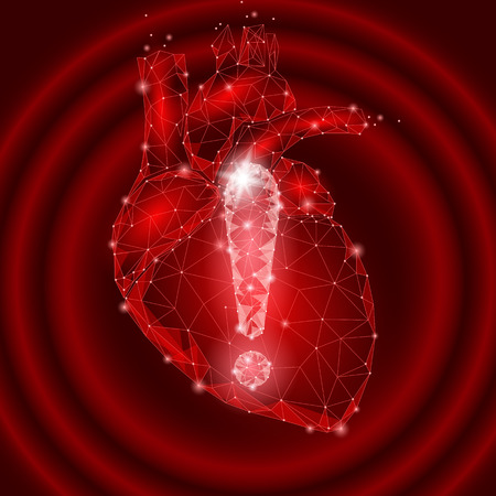 Attention health warning exclamation point heart low poly. Alert dangerous medicine disease risk infarct safety protect concept. Red point line polygonal vector illustration