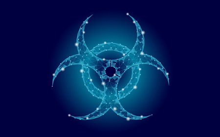 Toxic biohazard epidemic danger alert. Futuristic low poly night sky stars, pollution waste, attention caution, hazard virus, web concept, triangle polygonal line, blue vector illustration art