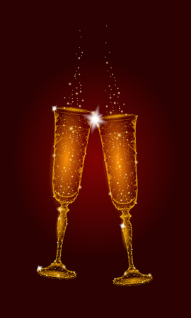 Two golden glowing glasses champagne sparkles.