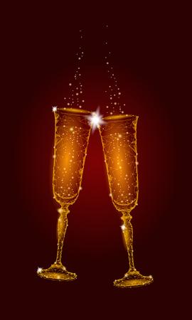 Two golden glowing glasses champagne sparkles. Archivio Fotografico - 92422246
