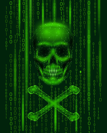 Jolly roger skull binary code numbers. Hacker piracy computer online attack alert. Scary warning hacking safety data security. Low poly polygonal triangle line 3d render illustration.