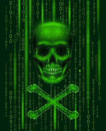 Jolly roger crâne numéros de code binaire. Pirate informatique pirate alerte en ligne alerte. Avertissement effrayant piratage sécurité des données de sécurité. Illustration de rendu 3d ligne poly faible polygonale triangle.