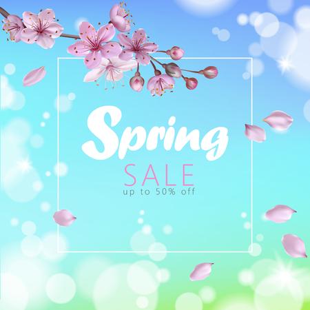 Realistic 3d spring sale script lettering web banner template. Color pink sakura cherry blossom flower blue sky landscape background design shop square social poster vector illustration. Vettoriali