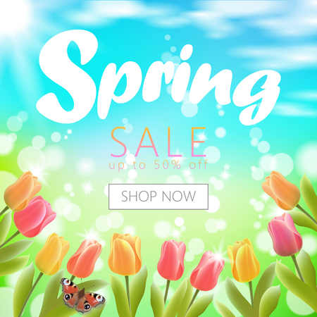 Realistic 3d spring sale script lettering web banner template. Color tulip flowers butterfly grass blue sky blue background shop now promotional square social poster vector illustration. Illustration