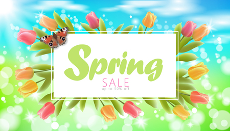 Realistic 3d spring sale script lettering web banner template. Color tulip flowers butterfly grass blue sky blue background flyer frame promotional square social poster vector illustration.
