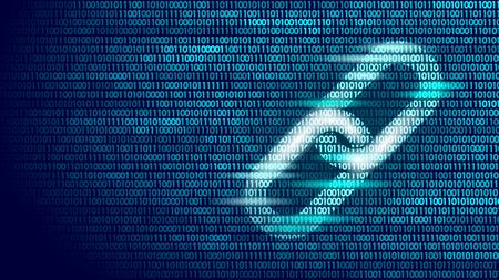 バイナリ コード番号ビッグ データ フロー情報のブロックチェーン ハイパーリンク シンボル。暗号通貨ファイナンスビジネスコンセプトベクトルイ