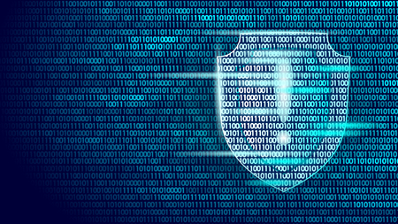 Shield guard safety system binary code flow. Big data security hacker attack computer antivirus business concept exclamation point information vector illustration.  イラスト・ベクター素材