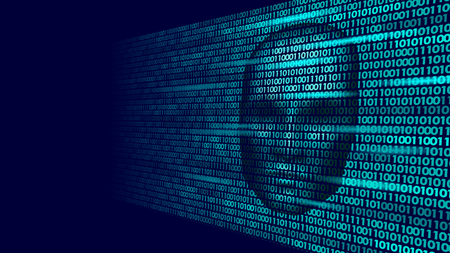Hacker artificial intelligence robot danger dark face. Cyborg binary code head shadow online hack alert personal data intellect mind virtual information vector illustration art. 일러스트