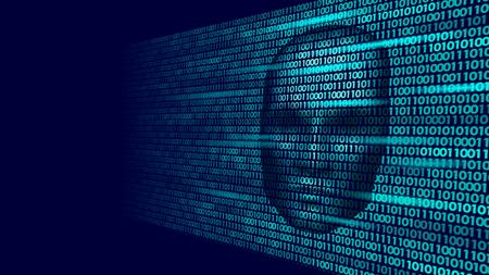 Hacker artificial intelligence robot danger dark face. Cyborg binary code head shadow online hack alert personal data intellect mind virtual information vector illustration art. Vettoriali