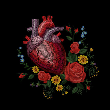 Embroidery crewel human anatomical heart medicine organ flower rose blooming. Red stitch embroidered design texture detailed patch. Fashion decoration template vector illustration