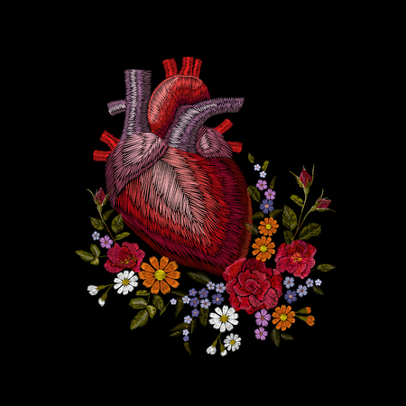 Embroidery crewel human anatomical heart medicine organ flower rose blooming. Red stitch embroidered design texture detailed patch. Fashion decoration template vector illustration art